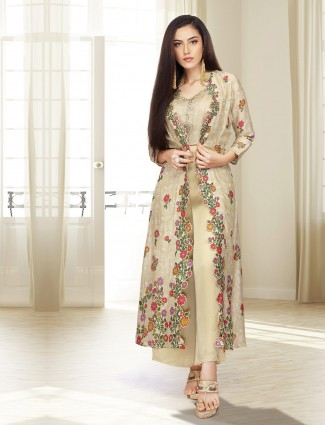 Beige hue jacket style printed palazzo suit in cotton
