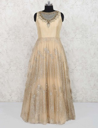 Beige hue lovely gown in net