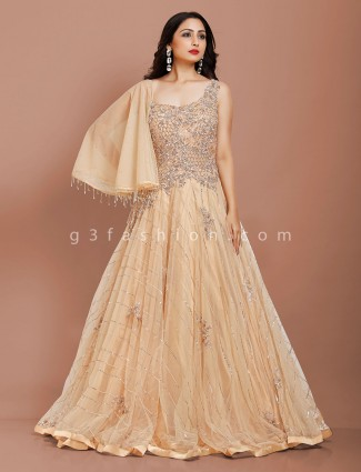 Beige net party occasion designer gown