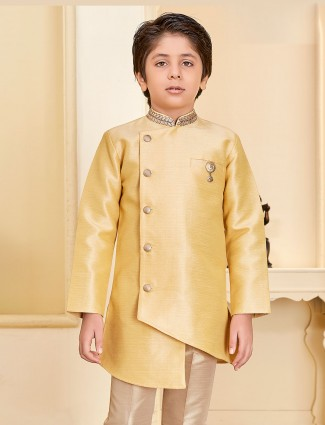 Beige hue raw silk kurta suit