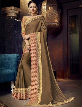 Beige hue satin festive wear saree