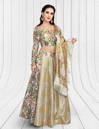 Beige hue silk festive lehenga choli