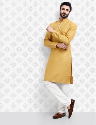 Beige hue straight cut cotton kurta suit