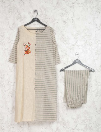 Beige hue stripe pattern cotton kurti set