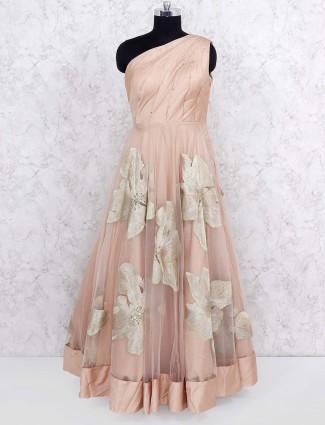 Beige hued cotton silk party wear gown