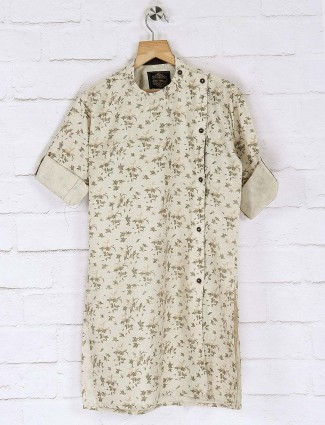 Beige hued flower printed cotton kurta