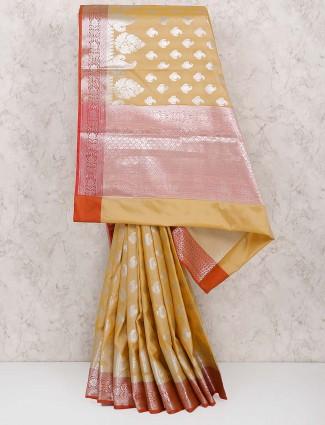 Beige hued saree in semi silk