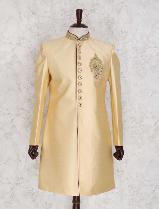Beige jamawar indo western for mens