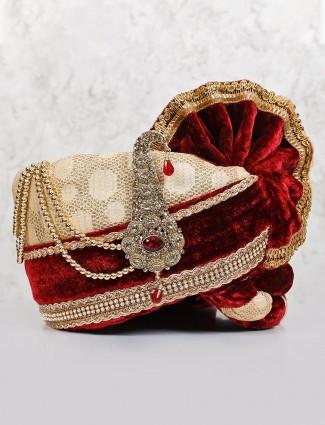 Beige maroon groom wear velvet safa
