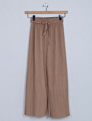 Beige poly cotton palazzo for women