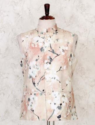 Beige printed cotton party wear waistcoat