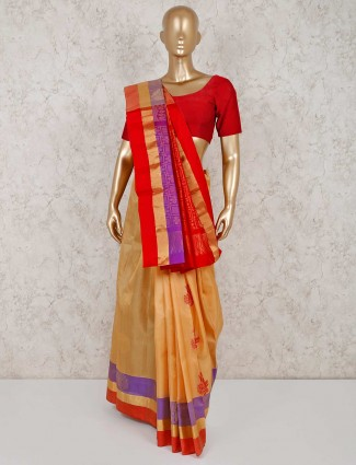 Beige pure south silk classic saree