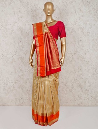 Beige pure south silk wedding saree