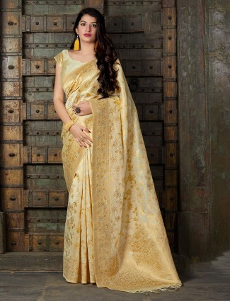 Beige reception wear banarasi silk saree