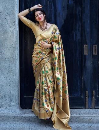Beige reception wear saree