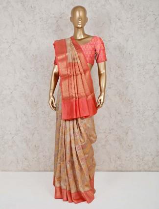 Beige saree in cotton banarasi silk