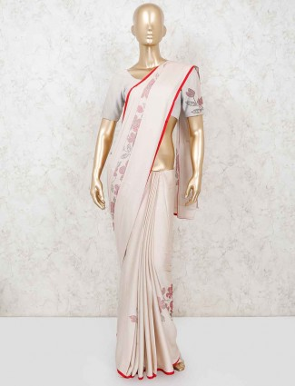 Beige satin reception or wedding saree