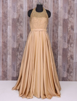 Beige satin silk gown