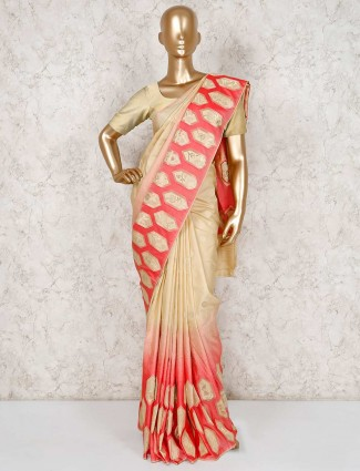 Beige semi silk reception saree