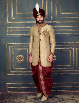 Beige silk classy  indo western