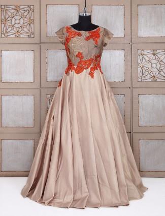 Beige silk designer gown