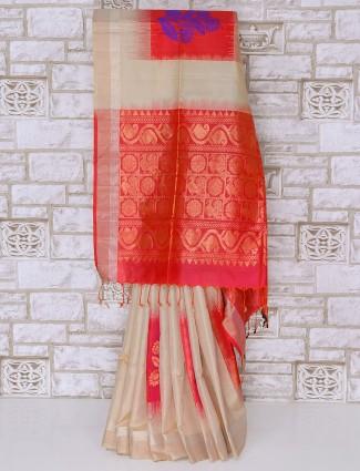 Beige silk fabric reception wear saree