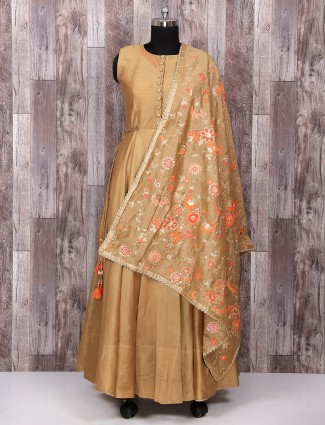Beige silk festive wear anarkali suit