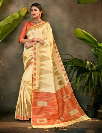 Beige silk party function saree