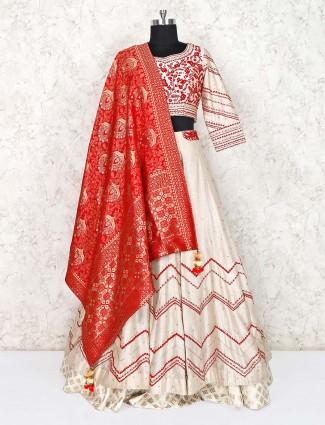 Beige silk wedding function lehenga choli