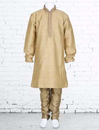 Beige solid silk kurta suit