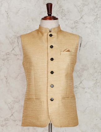 Beige terry rayon waistcoat for party