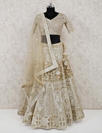 Beige tissue silk wedding designer lehenga choli