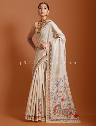 Beige tussar silk saree for reception