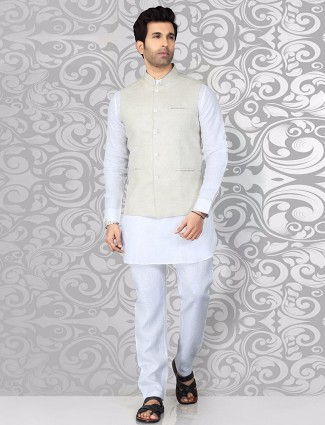 Beige white plain waistcoat set