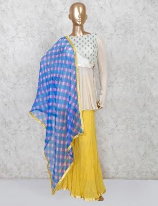 Beige yellow punjabi sharara suit in cotton