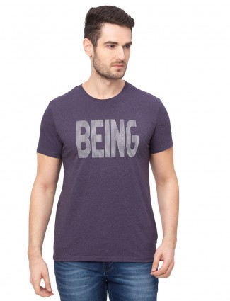 Being human violet printed cotton t-shirt