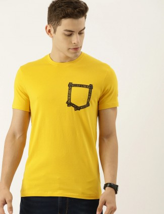 Being human yellow solid t-shirt for men