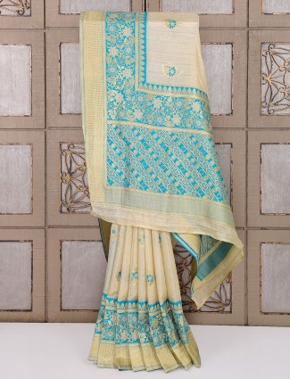Bhagalpuri silk cream hue saree