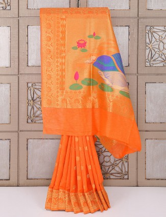 Bhagalpuri silk fabric orange saree