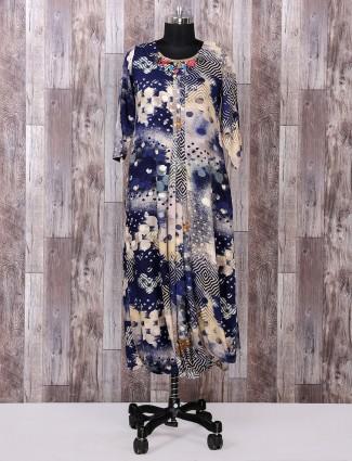 Bige and navy color stylish kurti