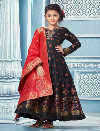Black anarkali salwar suit for girls