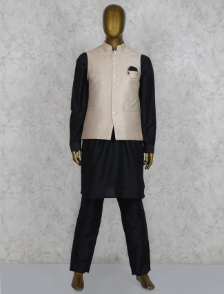 Black and beige solid silk waistcoat set