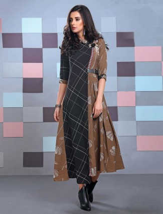 Black and brown color cotton fabric kurti