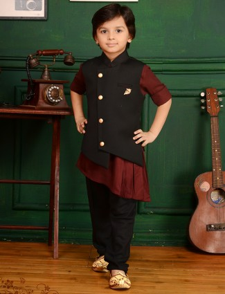 Black and brown terry rayon waistcoat set