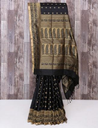 Black and golden color silk saree