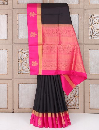 Black and magenta color silk fabric party saree