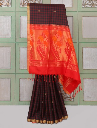 Black and maroon silk fabric saree