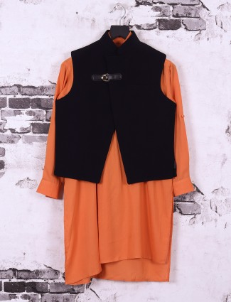 Black and orange color silk fabric waistcoat set for boys