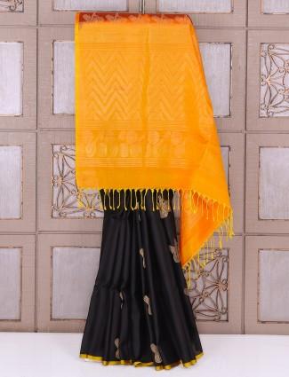 Black and orange silk party wear saree