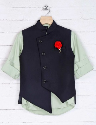 Black and pista green cotton silk waistcoat set